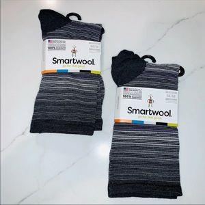 SmartWool Charcoal 'Striped Horizon Crew' Sock Duo